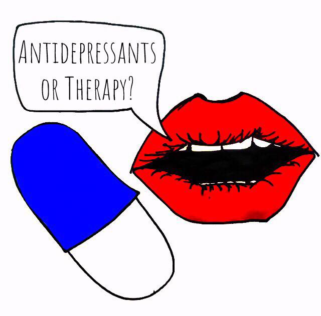 antidepressant caption on image with pill and lips